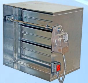 Motorized fire smoke damper amfsd airmaster for Motorized smoke fire damper