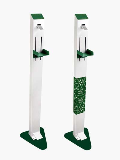 White Frame/Green Base Sanitizer Dispenser Stand
