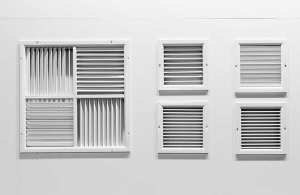 Mullion arrangement, standard sizes, and fixing details of grilles and registers